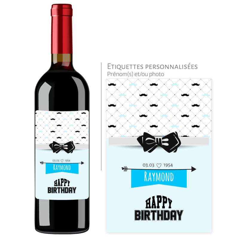 Cadeau anniversaire | Bouteille personnalisée avec date et prénom