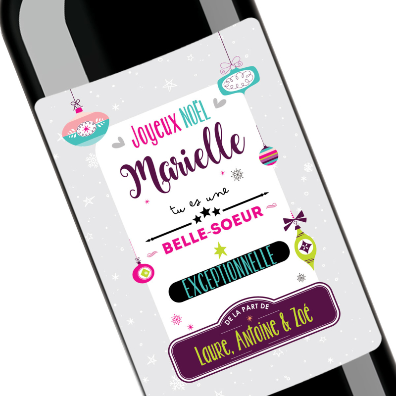 Cadeau noël Belle-Soeur | Bouteille personnalisée Tu es au top