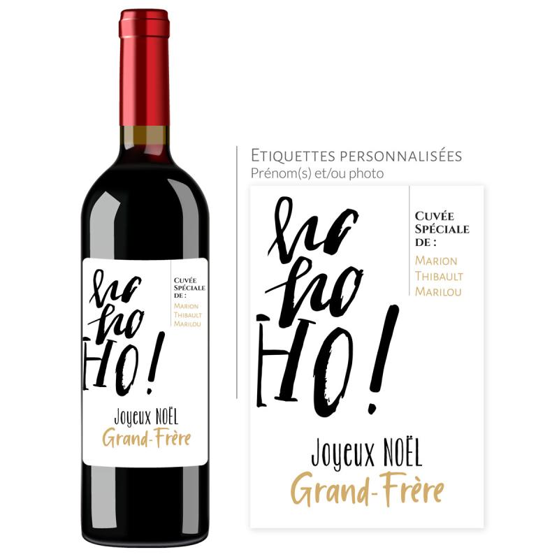 Cadeau noël Grand-Frère | Bouteille personnalisée Ho, Ho, Ho