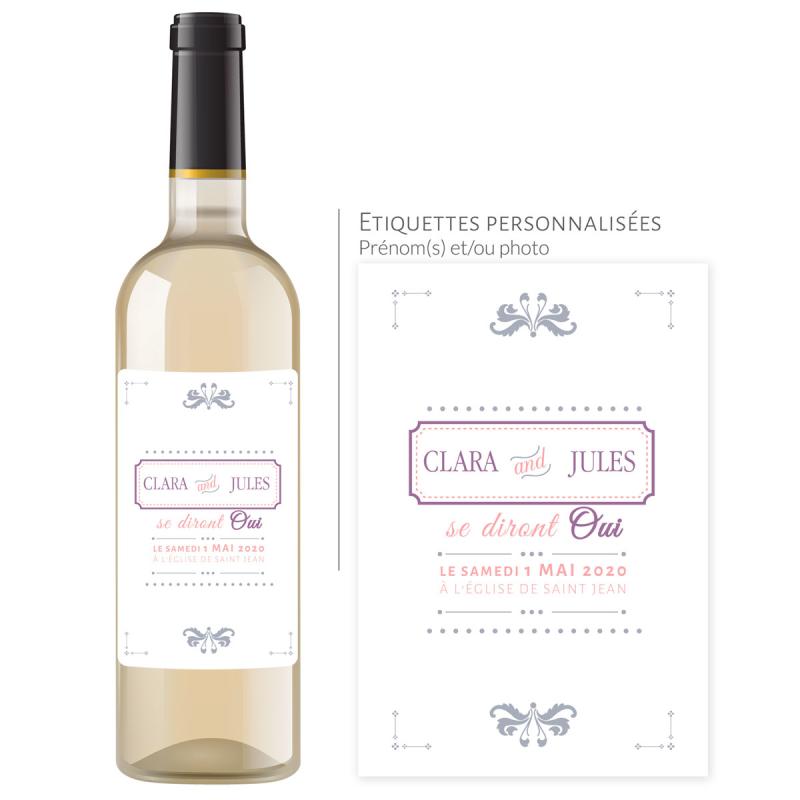 Bouteille vin mariage | À personnaliser avec prénom, date et lieu