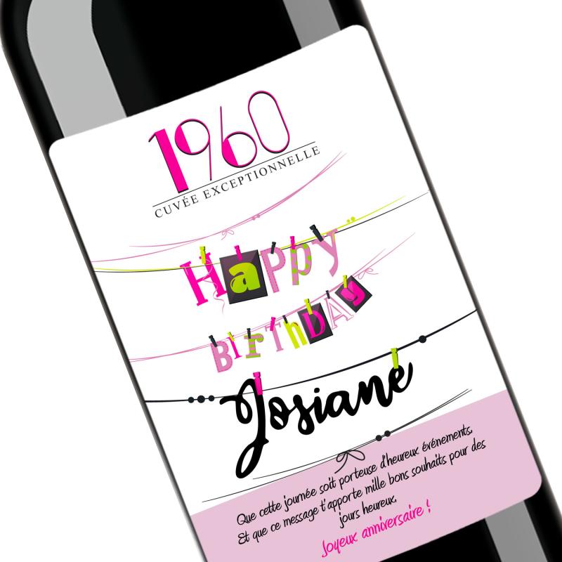 Cadeau anniversaire Happy Birthday | Bouteille personnalisée Date et prénom