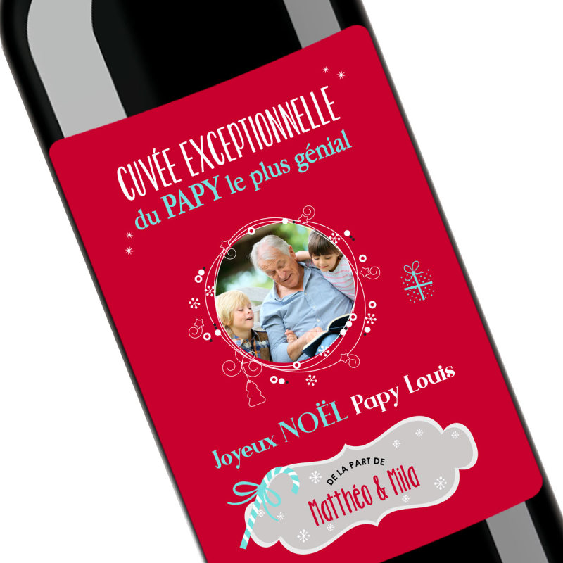 Cadeau noël papy | Bouteille personnalisée pour un papy génial