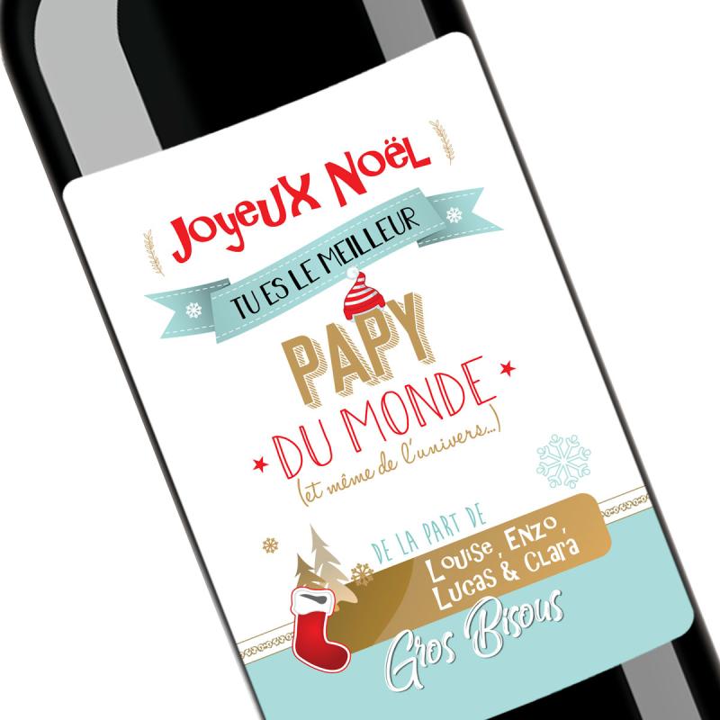 Cadeau noël papy | Bouteille personnalisée meilleur papy du monde