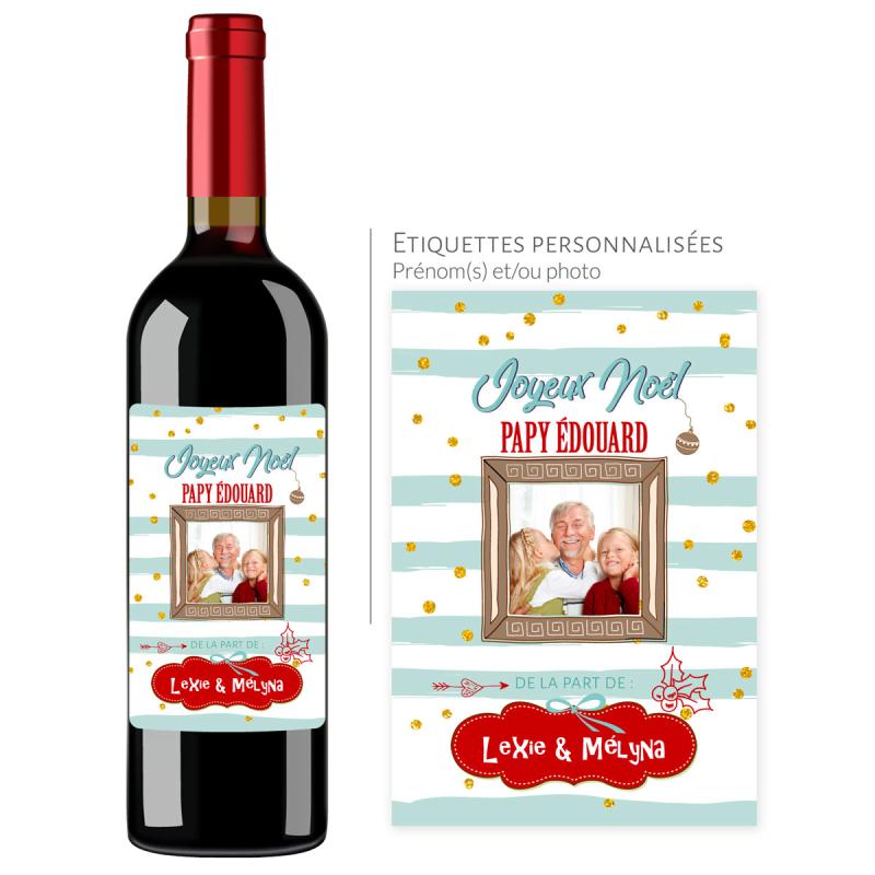 Cadeau noël papy | Bouteille personnalisée papy joyeux noël