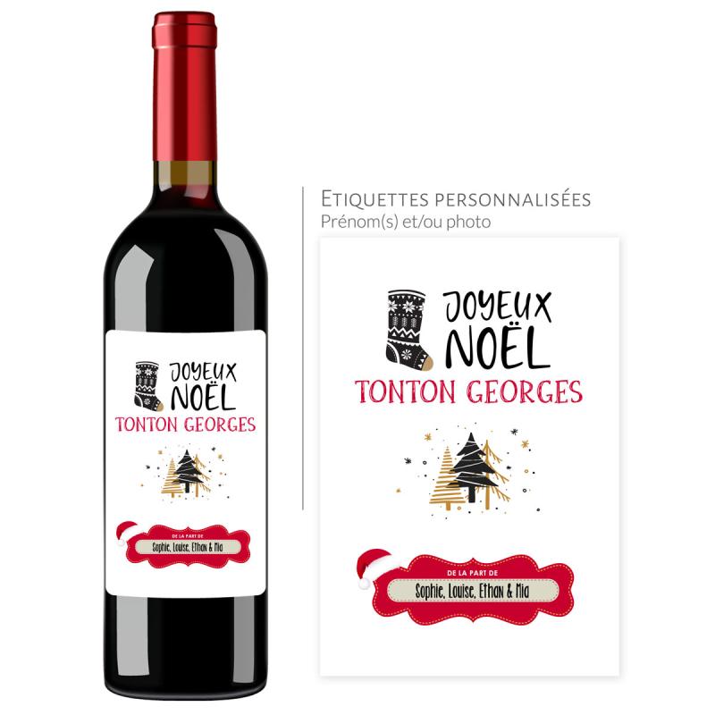 Cadeau noël Tonton | Bouteille personnalisée prénom joyeux noël