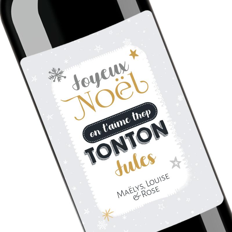 Cadeau noël Tonton | Bouteille personnalisée on t'aime trop