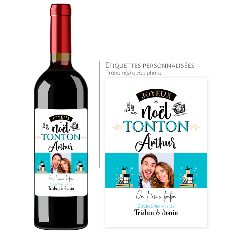 Cadeau noël Tonton | Bouteille personnalisée on t'aime tonton