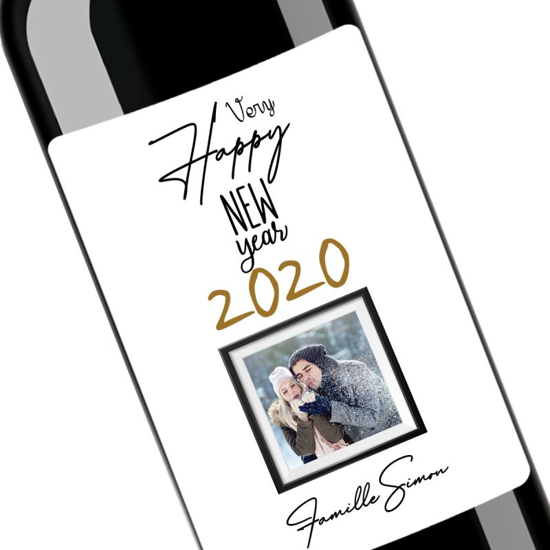 Cadeau bonne année 2020 | Bouteille personnalisée happy new year