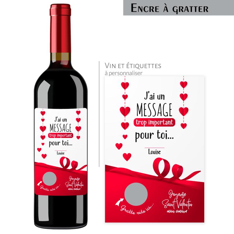 Cadeau St Valentin | Bouteille personnalisée message important