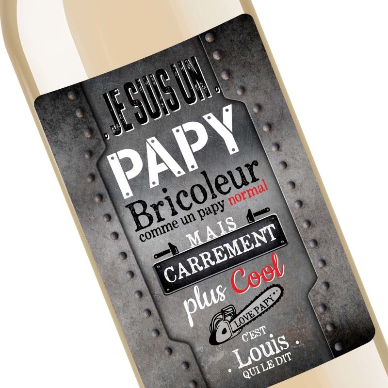 Cadeau papy | Bouteille personnalisée je suis un papy bricoleur