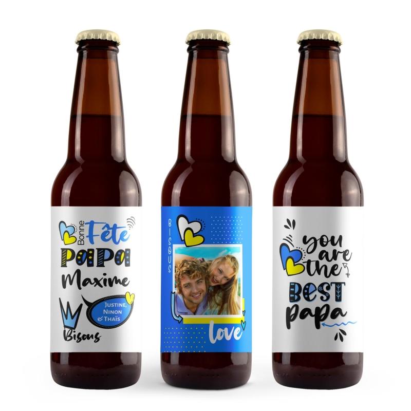 Cadeau papa original | Coffret cadeau bière bonne fête papa avec prénom et photo
